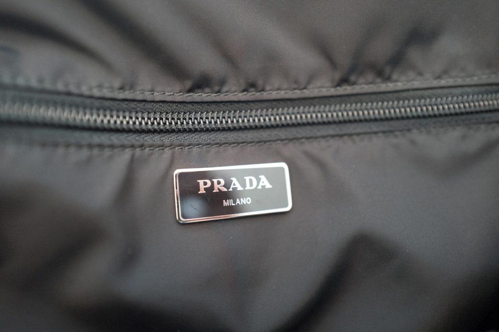 Prada logo inside tote bag