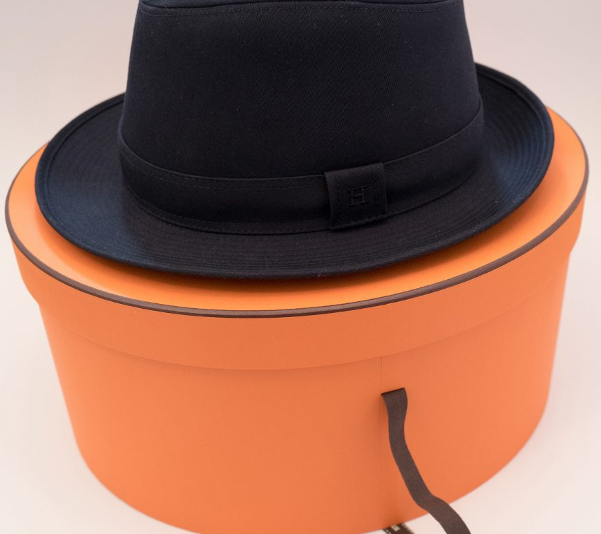 Hermes blue hat with orange box