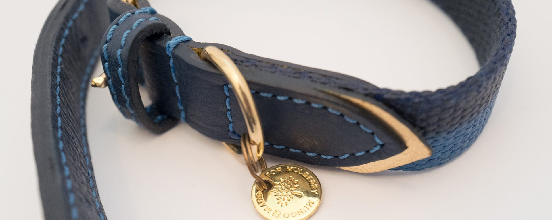 Mulberry dog collar & lead - Blue & gold