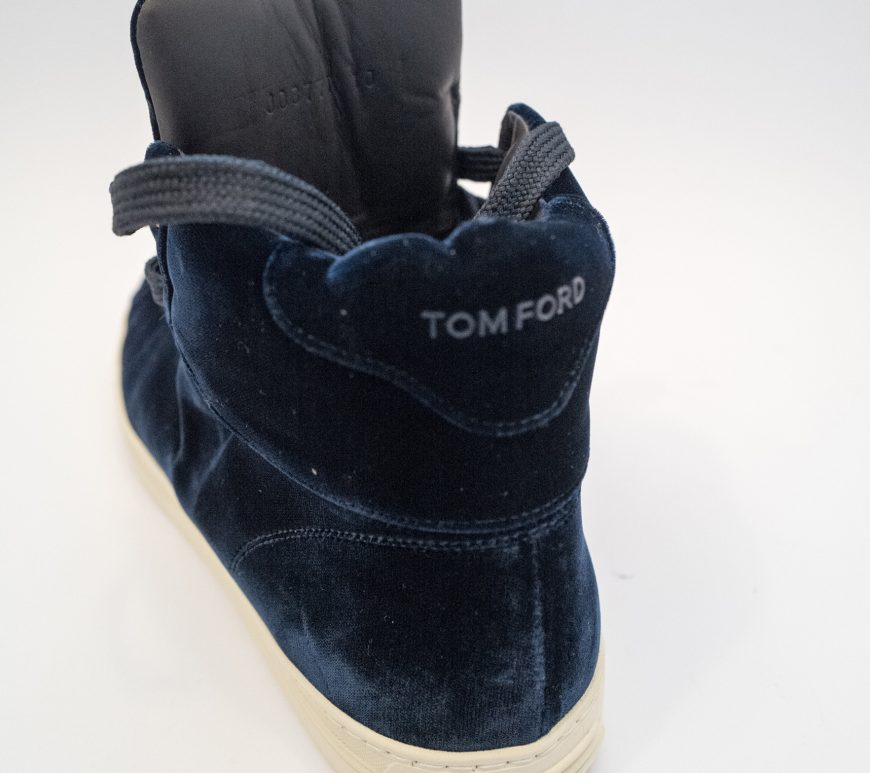 Tom Ford Velvet blue high top trainers