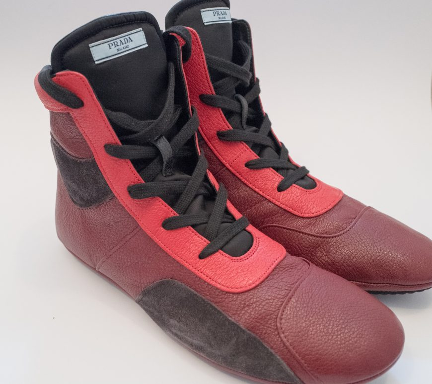 Prada red boxing boots