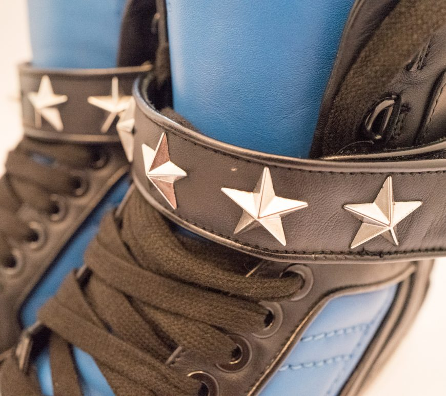 Givenchy blue and black star leather hightop trainers