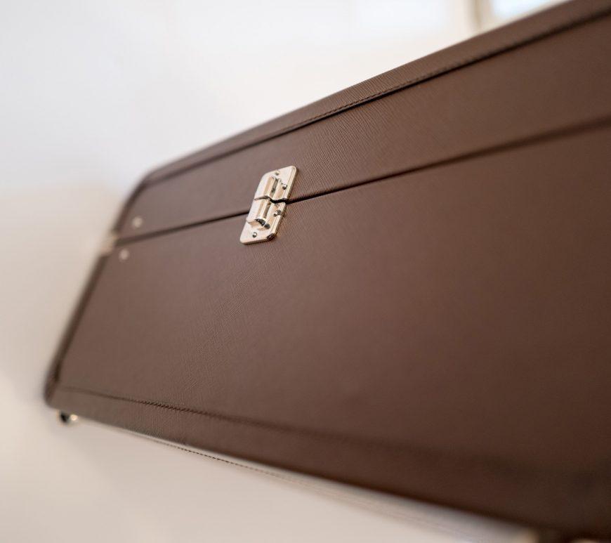 Prada leather hard suitcase