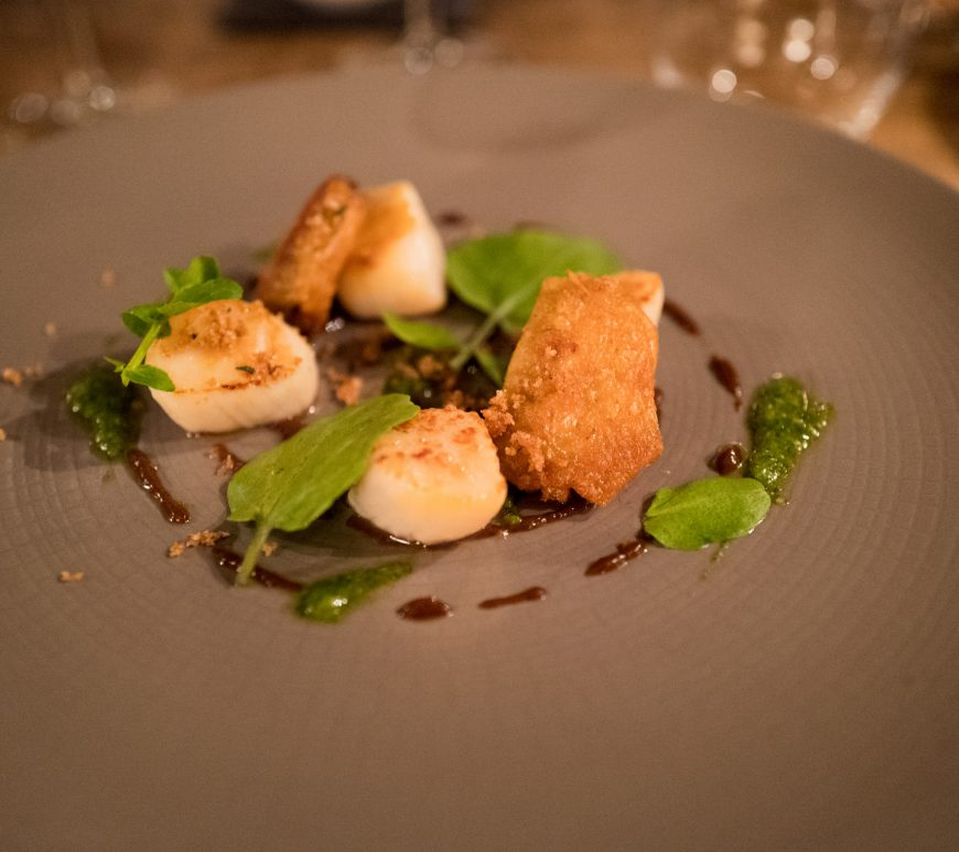 Scallops starter - The Masons Arms, Knowstone, Exmoor, Devon