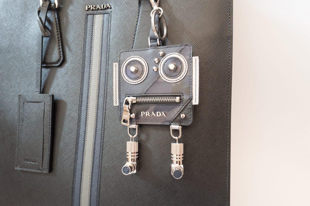 Prada leather robot ticket keyring