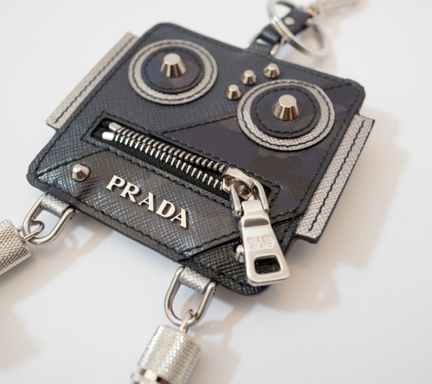 Prada leather robot ticket keyring