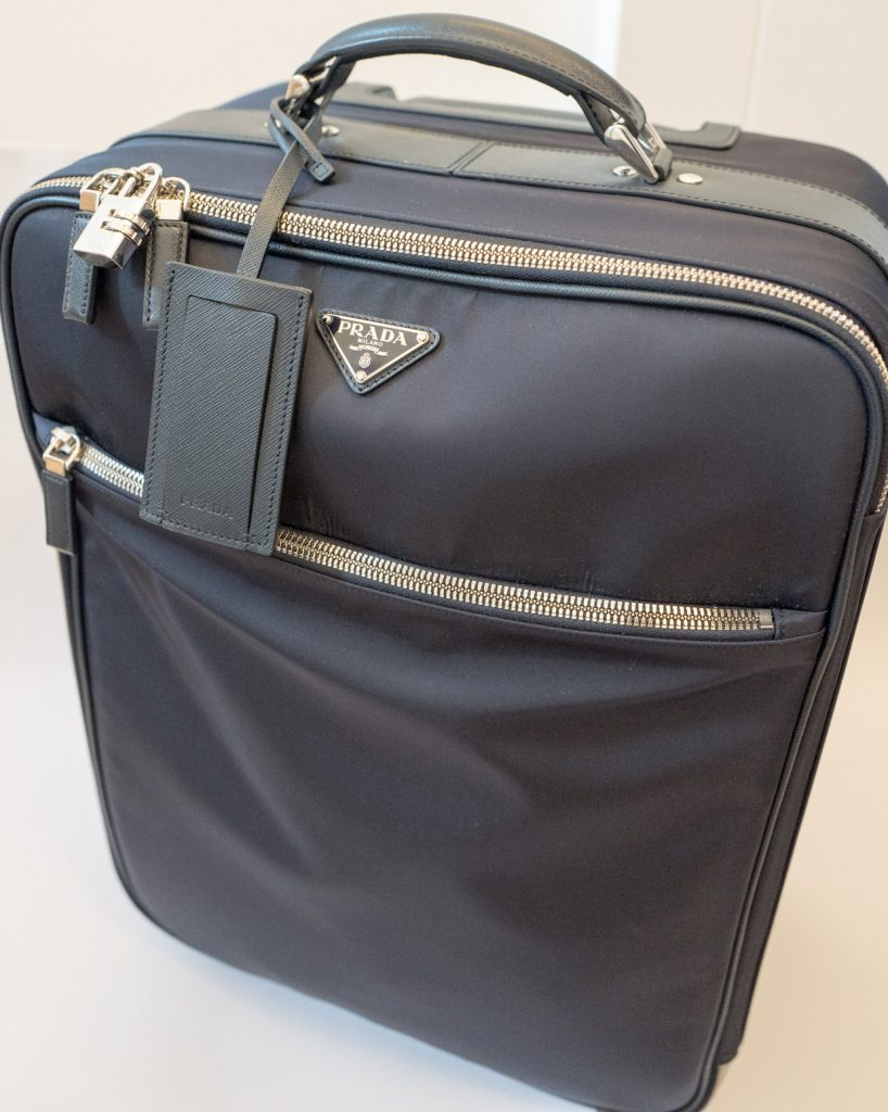 Black Prada nylon and Saffiano leather trolley