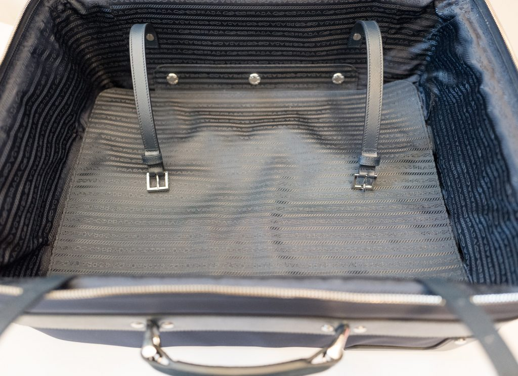 Blue Prada nylon and Saffiano leather trolley