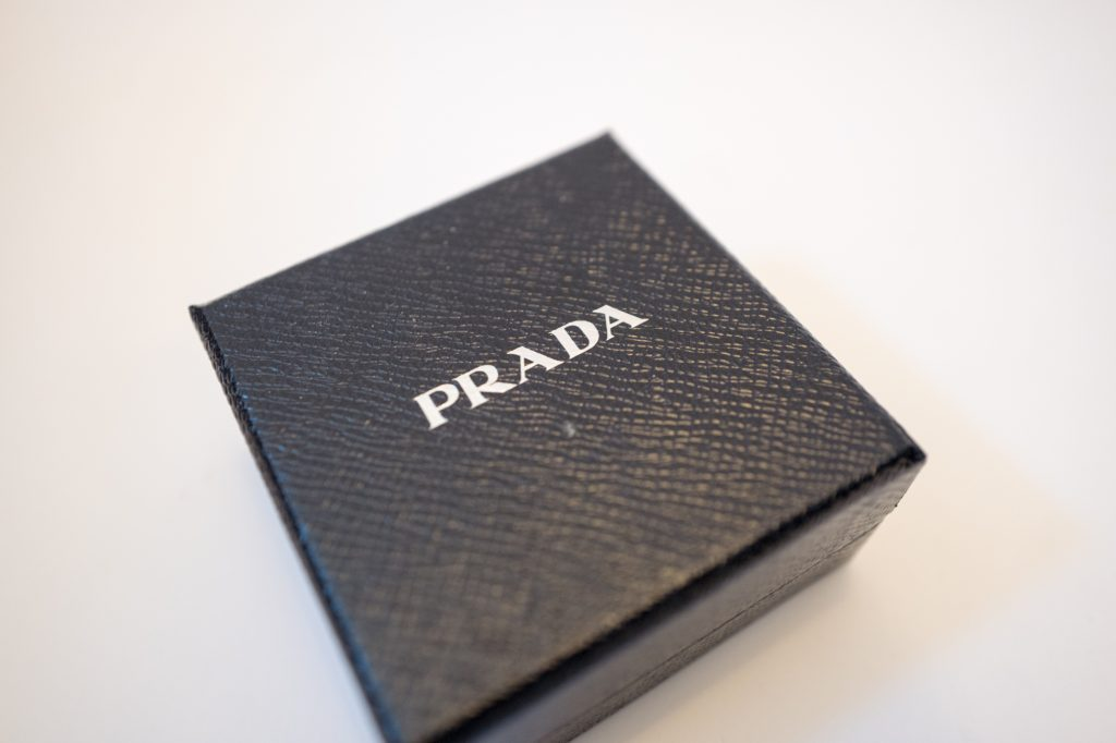 'I love Prada' velcro Saffiano leather badge