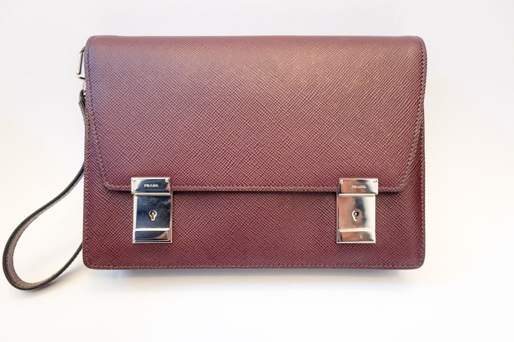 Prada mens garnet saffiano leather clutch bag